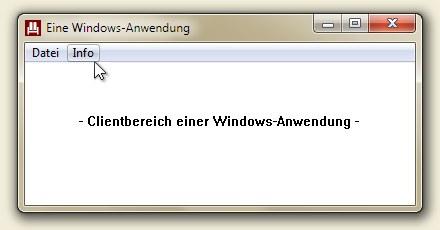 Eine         Windows-Anwendung mit Clientbereich und Rahmen